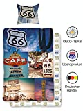 USA Bettwäsche Set Route 66 | Amerika Bettwäsche-Set 135x200 cm 80x80 Vintage | 100% Baumwolle mit...