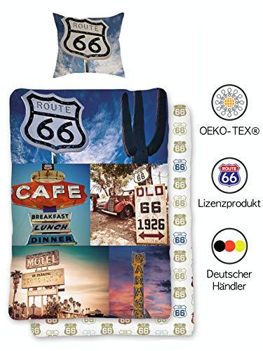 USA Bettwäsche Set Route 66 | Amerika Bettwäsche-Set 135x200 cm 80x80 Vintage | 100% Baumwolle mit Reißverschluss | Öko-Tex Standard - Deutsche Standardgröße