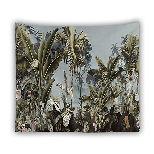 KHKJ Tapiz de Hojas Verdes en 3D Planta Tropical Colgante de Pared Casa de Campo Decoración del hogar Tapiz Mantel Colcha Tenture Alfombra A16 95x73cm