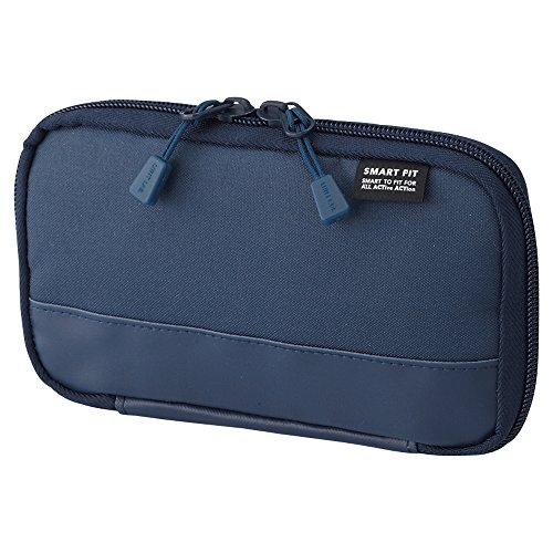 "LIHIT LAB Compact Pen Case (Pencil Case), Water & Stain Repellent,3.5"" x 6.5'', Navy (A7687-11)"
