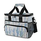 LINPM Bolsa de Nevera, Big Spring Set Lavender Flowers Design 15L Bolsa de Almuerzo con Aislamiento Grande Picnic Cooler, Refrigerador Aislado