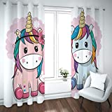 empty Cortinas para habitacion Opacas Unicornio de Dibujos Animados,niño con...