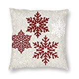 Harla Christmas Sparkling Red Snowflakes Velvet Soft Decorative Square Throw Pillow Case Cushion Cover Pillowcase for Livingroom Sofa Bedroom with Invisible Zipper 20x20 Inches
