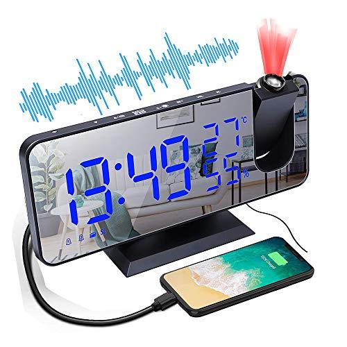 Tiamu LED Projektionswecker, Digital Wecker mit Thermometer Hygrometer, Spiegel Wecker-Digitaler Wecker Radiowecker USB-Anschluss mit 15 Lautstärke