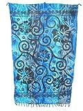 Sarong Pareo Hibiskus Batik Style blau-grau/große Auswahl schönste Farben/Wickelrock Strandtuch Sauna-Tuch Wickelkleid Schal Wickeltuch Bademode Freizeitmode Sommermode/aus 100% Viskose