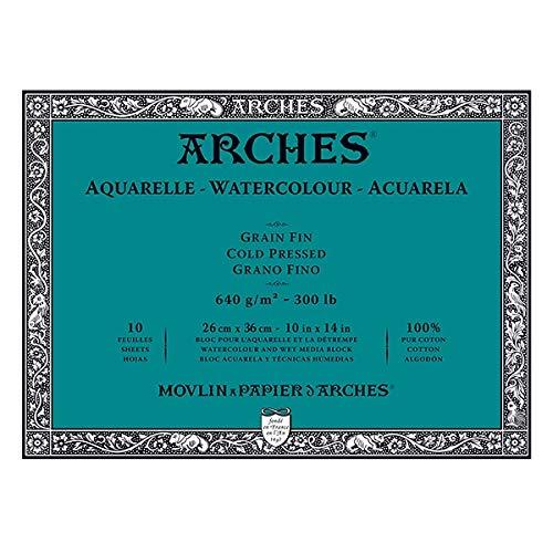 Block mit 10 Aquarellblättern (4 Seiten) 26 x 36 cm, 640 g/m², feine Körnung, naturweiß