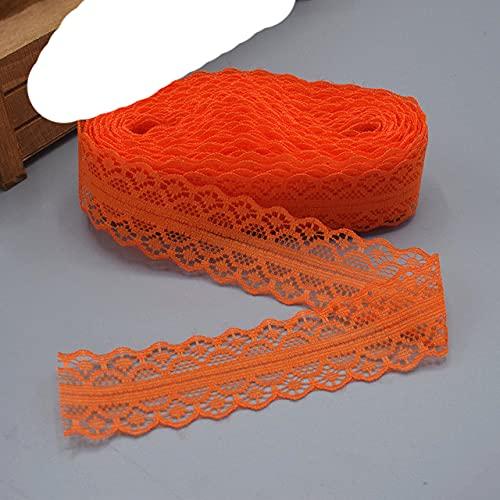 2021 venta caliente 5-10 yardas ropa tela costura bordado blanco bricolaje borde lateral tejido encaje tejido accesorios artesanales 25 colores-naranja rojo, 10 yardas