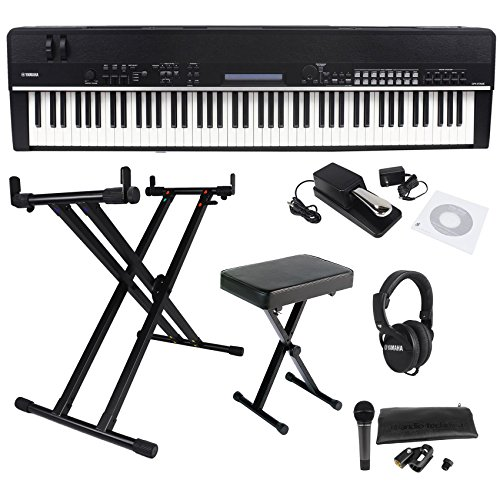 Package: Yamaha CP4 88 Wooden Key Flagship Stage Performance Digital Piano With Hammer Action Keys + Yamaha YKA7500 Professional Double X Style Keyboard Stand + Yamaha PKBB1 Folding Black Metal Padded X-Style Keyboard Bench + Yamaha RH3C Professional Closed-Ear Musician Headphones + Audio Technica ATM510 Cardioid Dynamic Handheld Microphone