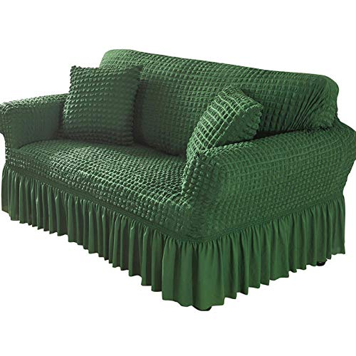 Xin Hai Yuan Funda de sofá con falda, elástica, antideslizante, suave, duradera, lavable a máquina, protector de muebles, color verde, 3 plazas