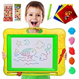 Gamenote Large Magnetic Drawing Board Education Doodle Toys for Kids, Colorful Erasable Magnet Writing Sketching Pad for Toddlers Learning (Yellow)