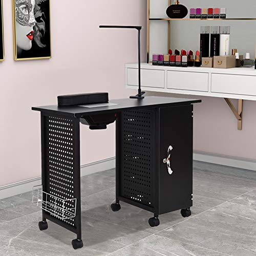 Manicure Nail Table,WaterJoy Steel Frame Nail Station Table Manicure Salon Spa Table Nail Art Desk Workstation Beauty Salon Equipment Drawer with LED light,Nails Lamp Table 5 drawers Black