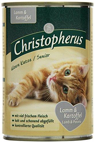 Christopherus Alleinfutter für Katzen, Nassfutter, Ältere Katze, Lamm und Kartoffel, 6 x 400 g Dose