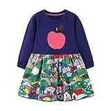 Julhold Prinzessin Kleid Party Kleidung Mädchen Weihnachten Langarm Niedlich Print Kleid Knielänge Fancy Dress Up Geburtstag Kleider Outfit 1-7 Jahre(Marine,140)