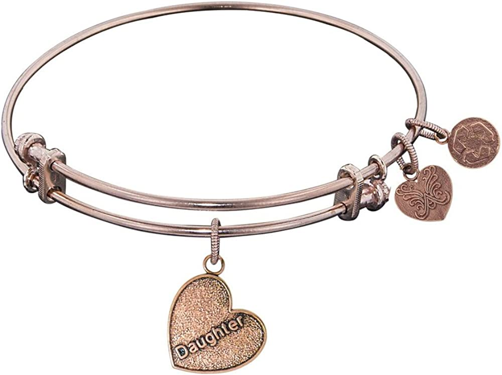 Angelica Collection Antique Stipple Finish Brass Daughter Heart Expandable Bangle Complementing Gel1004