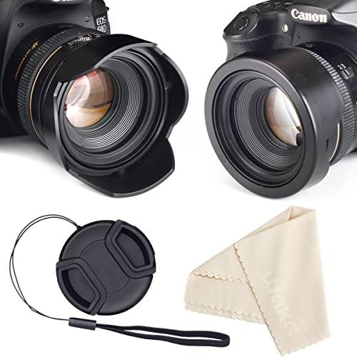 waka 58mm Reversible Tulip Flower Lens Hood Set, Unique Design Camera Lens Hood for Canon Nikon Sony DSLR + Center Pinch Lens Cap with Cap Keeper Leash + Microfiber Cleaning Cloth