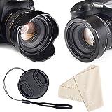 waka 72mm Reversible Tulip Flower Lens Hood Set, Unique Design Camera Lens Hood for Canon Nikon Sony DSLR + Center Pinch Lens Cap with Cap Keeper Leash + Microfiber Cleaning Cloth