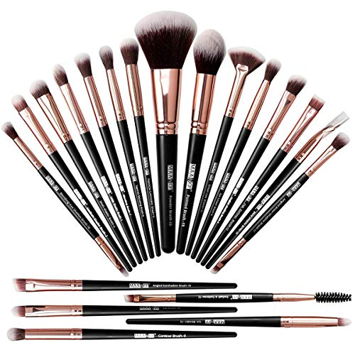 Makeup Brushes, 20 Pcs Professional Makeup Brush Set Foundation Eyeshadow Blush Brush,Travel Kabuki Blending Concealers Face Powder Eye Make Up Brushes Set Kit (Black Gold)
