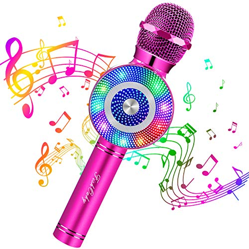 Micrófono Karaoke Bluetooth, FISHOAKY 4 en 1 Microfono Inalámbrico Altavoces con Luces LED, Portátil Karaoke para Niños, Función de Eco, Compatible con iOS/Android Teléfono