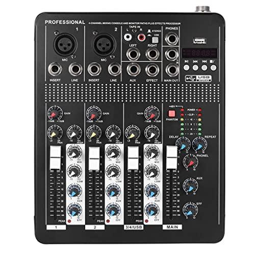 UOEIDOSB Consola de mezcla de audio de línea de micrófono de 4 canales profesional con 3 bandas EQ 48V Poder fantasma USB Interfaz