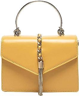 Women Cross Body Bag Leather Retro Yellow