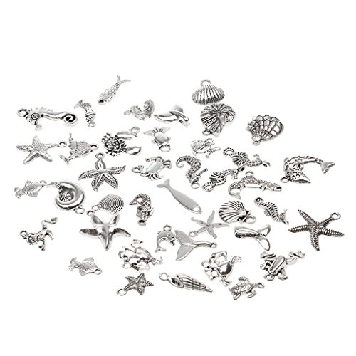 oshhni 40pcs Vintage Style Sea Animal Charm Pendant DIY Jewelry Making Accessory