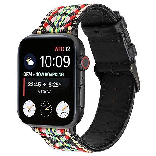 Vrouwen Mannen Band Compatibel met Apple Horloge 44mm 42mm 40mm 38mm, Echt Leer en canvas Band Compatibel met Apple Horloge Series 4 3 2 1