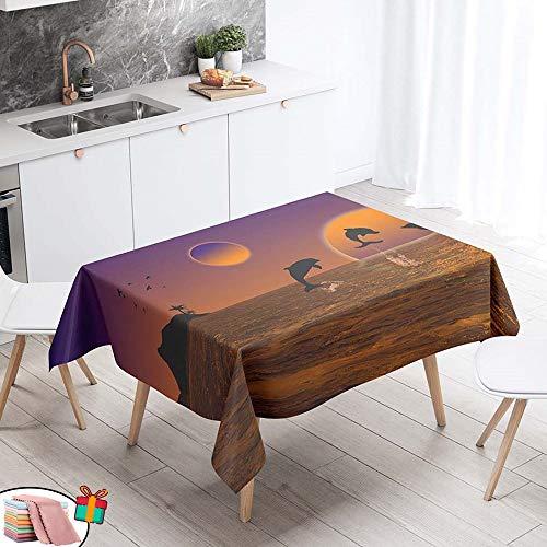 Morbuy Nappe Anti Tache Rectangulaire, Imperméable Étanche à l'huile 3D Imprimé Carrée Couverture de Table Lavable pour Ménage Cuisine Jardin Picnic Exterieur (Jaune Coucher De Soleil,60x60cm)