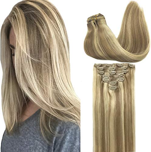GOO GOO Clip in Hair Extensions Ombre Light Blonde Highlighted Golden Blonde 14 inch 7pcs 120g product image