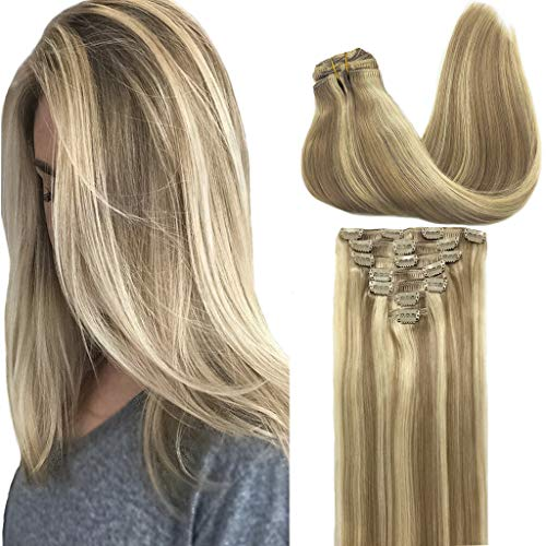 GOO GOO Clip in Hair Extensions Ombre Light Blonde Highlighted Golden Blonde Remy Human Hair Extensions Clip on Straight 18 inch Real Natural Hair Extensions 120g 7pcs