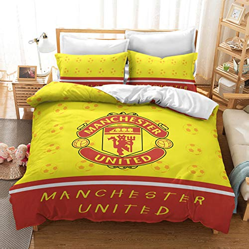 QXbecky Bed Linen Football Club FC Quilt Cover, Pillowcase 2~3 Piece Set Madrid Microfiber Comfortable and Breathable 230x308