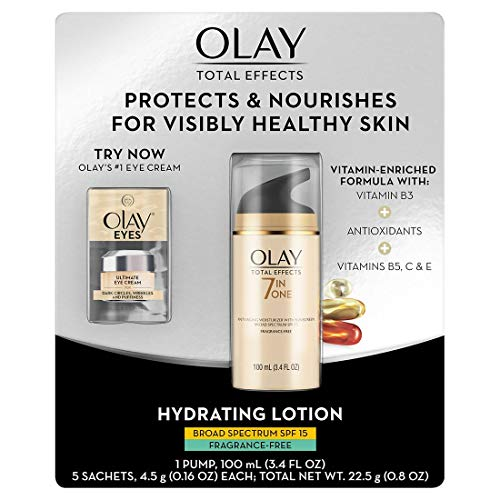 Olay Total Effects SPF 15 Fragrance-Free Face Moisturizer, 100mL with Ultimate Eye Cream, 0.5 mL