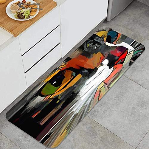 Cocina Antideslizante Alfombras de pie Cara Lindo Gato Artista Usado áspero Decoración de Piso Confortables para el hogar, Fregadero, lavandería-120cm x 45cm