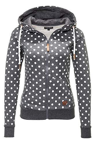 Hachiro Damen Sweatjacke Hoodie Sweatshirt Kapuzenpullover (Large, Grey Marl/Dots)