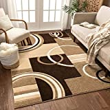 Echo Shapes & Circles Ivory / Beige Brown Modern Geometric Comfy Casual Hand Carved Area Rug 5x7 ( 5'3' x 7'3' ) Easy Clean Stain Fade Resistant Abstract Contemporary Thick Soft Plush Living Room