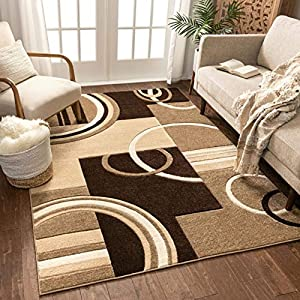 Echo Shapes & Circles Ivory / Beige Brown Modern Geometric Comfy Casual Hand Carved Area Rug 5×7 ( 5'3″ x 7'3″ ) Easy Clean Stain Fade Resistant Abstract Contemporary Thick Soft Plush Living Room