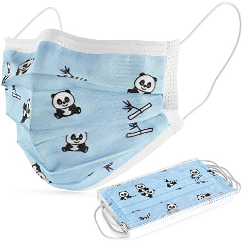 Turba 3Ply Face Mask for Kids – Panda Bears Cartoon - Disposable Pediatric Ear Looped Face Masks - 7 Pk - Facial and Mouth Covering - Protection to Filter Dust, Small Particles, Mist, Pollutants