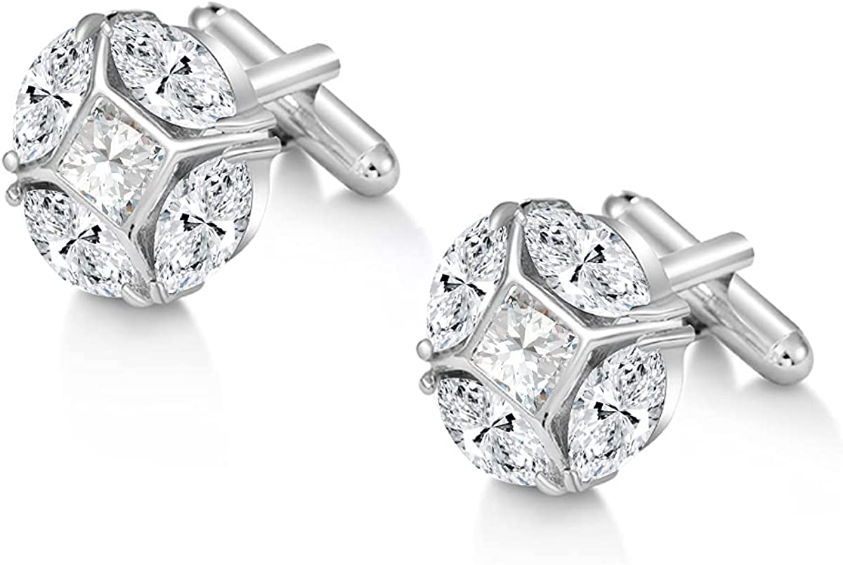 MEEDOZ Men's White Gold/Rose Gold Plated Cubic Zirconia Classic Business Shirt Cuff-Links for Wedding