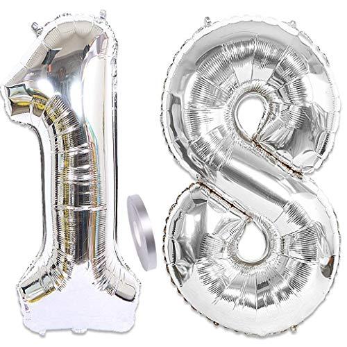 Feelairy 2 globos de plata con número 18, globos gigantes de 100 cm, globos plateados de helio hinchables, globos con número 18, globos para fiesta de cumpleaños para niños y niñas (100 cm)