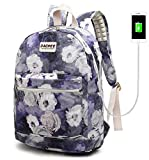 DACHEE Laptop Backpack with USB Charging Port Waterproof School Bookbag Travel Backpack for 15.6 Inch (Grey Roses)