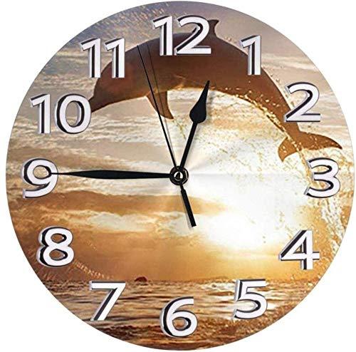 Reloj De Pared Reloj De Delfín Saltador Número Reloj De Pared Redondo Reloj De Números Arábigos Reloj Silencioso Que No Hace Tictac Decoración Colorida Cocina Escuela De 10 Pulgadas