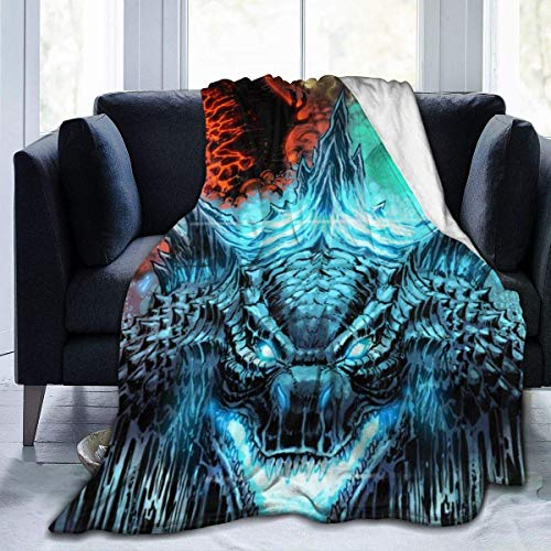 "Best Fleece Bed Blankets, Godzilla Monsters King Ghidorah Fan Art Personalized Throw Blankets, Wrinkle-Resistant Ultra Soft 80s 90s Blanket for Adult Outdoor Bedding 60"" X 80"""