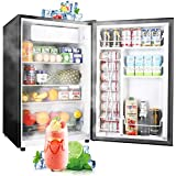 Compact Refrigerator, TECCPO 4.5 Cu.Ft Mini Fridge with LED Light, Energy Star, Adjustable...