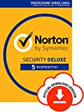 Norton Security Deluxe Antivirus Software 2019 | 5 Dispositivi (Licenza di 1 anno) | Compatibile con Mac, Windows, iOS e Android | Codice d'attivazione via email