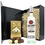 Rum Gift Set - Bacardi White Rum and Chocolates Gift Hamper Box - Birthday, Christmas Rum Gifts for Men and Women