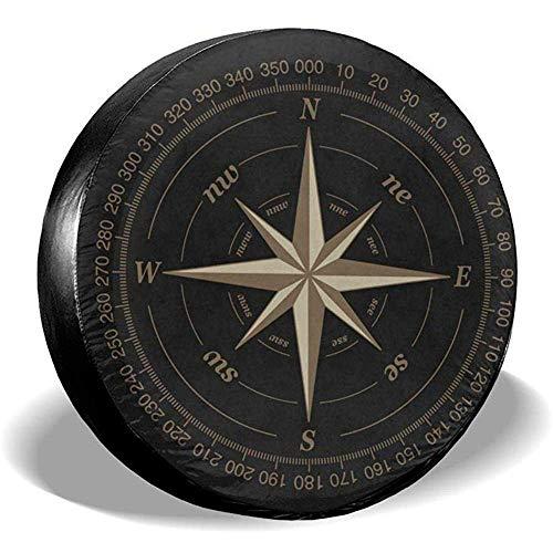 Y.Z.L. Reserveradabdeckung Compass Rose Schwarz Universal Reserverad Ersatzradabdeckung Für Trailer Rv SUV 14-17IN