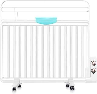 Heater Ultra-Delgada Pared con Aceite De Calefacción, 1300W De Ahorro De Energía Silencioso Resistente Al Calor Eléctrico del Radiador, con Tendedero Humidificación Box Ruedas En Movimiento, Blanca