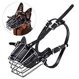 HNZNCY Antimordedura grande perro bozal cesta de alambre máscara de metal para correas de cuero ajustables cubierta de la boca del animal doméstico pastor alemán Pitbull máscara de mascota (L)