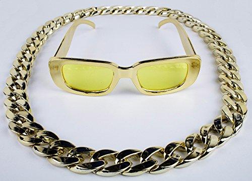 Panelize® Proll Lude Macho Proleth Angeber Hip Hop Rapper Bonzen Set - Brille + Kette Gold