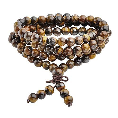 Ayliss Oración Reiki curativo Pulsera con Cuentas Natural Tigre Ojo Piedra 108 Perlas Pulsera Collar Yoga Buda Pulseras Joyas/Buddha Beads