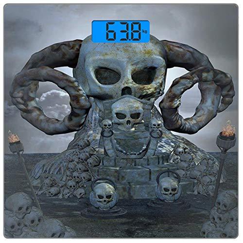 Escala digital de peso corporal de precisión Square Cráneo Báscula de baño de vidrio templado ultra delgado Mediciones de peso precisas,Espeluznante trono aterrador con muchas calaveras, cuernos y ant